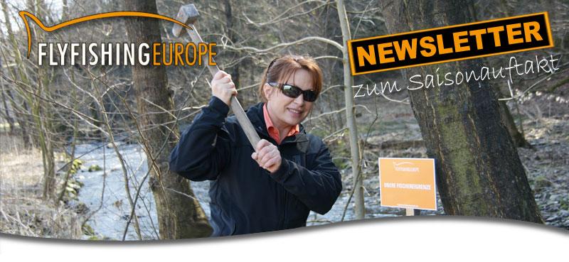 Mirjana Pavlic mit Hammer, Fliegenfischergewässer bei Flyfishing Europe