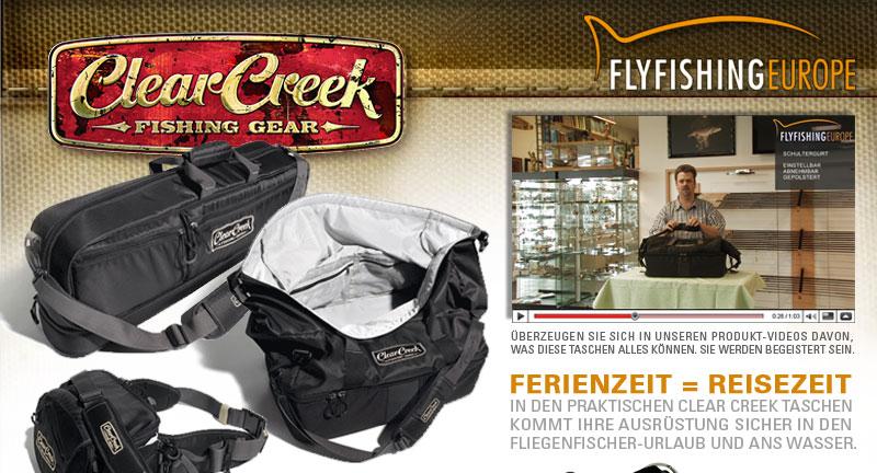 Die neuen Clear Creek Fliegenfischertaschen - jetzt mit Produkt-Videos in unserem Online-Shop.