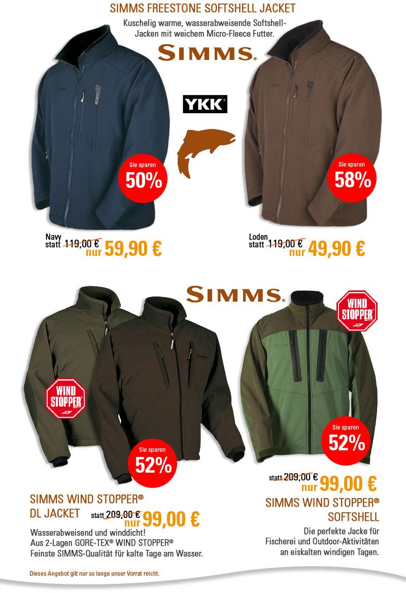 SIMMS Softshell und Windstopper Jacken bis zu 58 Prozent reduziert.