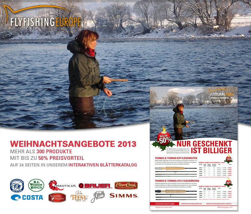 Flyfishing Europe Weihnachtsangebote 2013 in 24-seitigem Blätterkatalog für Fliegenfischer.